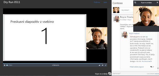 Oddajanje srečanja v Skypu z integracijo storitve Yammer