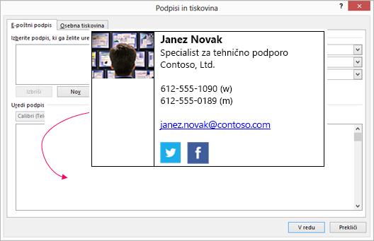 Prilepite blok s podpisom po meri v e-poštni podpis z besedilom v podpisi in tiskovina «pogovorno okno»