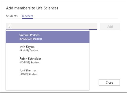 Začnite vnašati ime, izberite profesorja, in nato kliknite Dodaj.