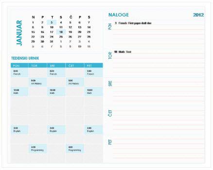 Predloga študentskega tedenskega koledarja za načrtovanje (Excel)