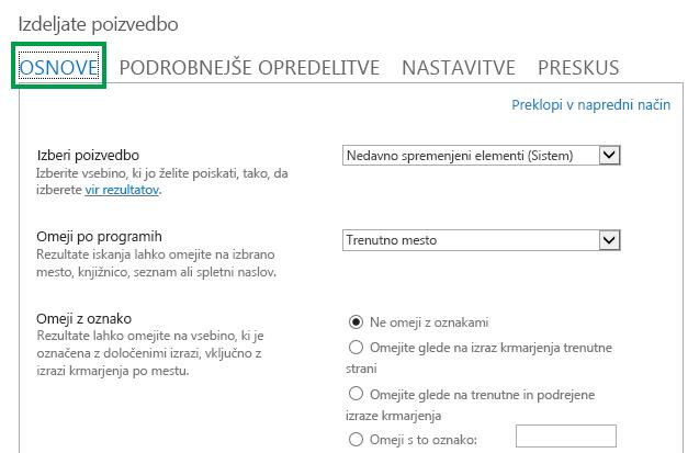 Zavihek »OSNOVE« med konfiguriranjem poizvedbe v spletnem gradniku iskanja vsebine