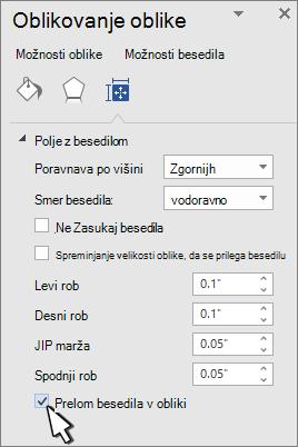 Oblikovanje panelne oblike z izbrano prelomno besedilo