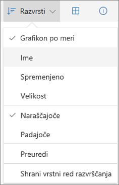 Posnetek zaslona menija »Razvrsti« v storitvi OneDrive