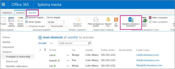 Izberite možnost »Vzpostavi povezavo z Outlookom«, da sinhronizirate seznam stikov z Outlookom