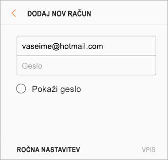 E-poštni naslov in geslo