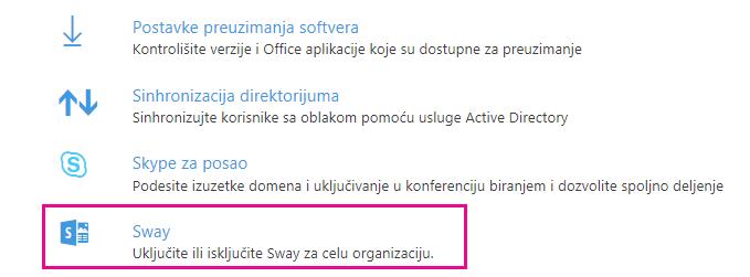 Na zaslonu »Storitve in dodatki« se premaknite navzdol in kliknite Sway.