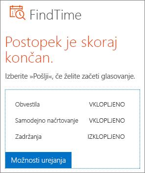 Urejanje možnosti v e-pošti