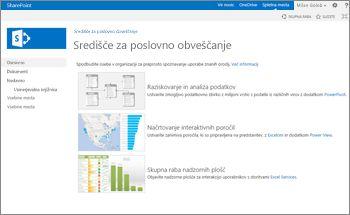 Predloga spletnega mesta središča za poslovno obveščanje