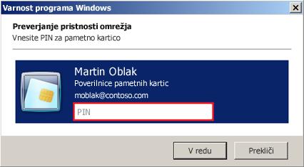 Pogovorno okno za vnos kode PIN za pametno kartico