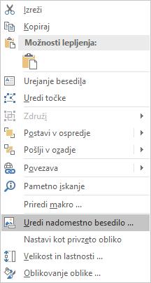 Meni za urejanje nadomestnega besedila za oblike v programu Excel Win32
