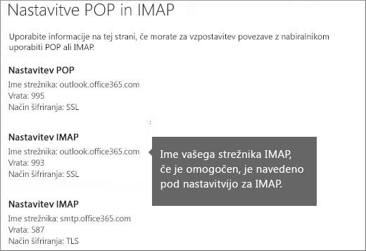 Prikazuje povezavo do nastavitev dostopa POP ali IMAP