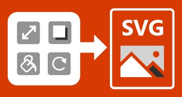 Štirje gumbi na levi strani, slika SVG na desni strani in puščica med obema elementoma