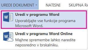 Posnetek zaslona programa Word Online z izbrano možnostjo »Uredi v Wordu«