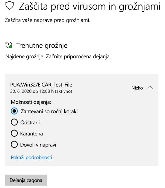 Dejanja, ki jih lahko sprejmete, ko varnost sistema Windows zazna morebitno neželeno aplikacijo