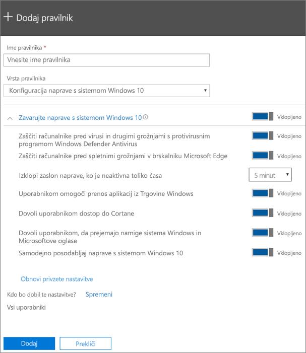 Podokno za dodajanje pravilnika z izbrano konfiguracijo naprave s sistemom Windows 10