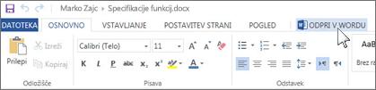 Namesto različice Office Online odprite polno različico Officea