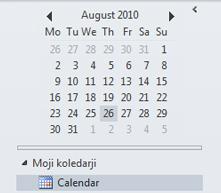 Datumski krmar v podoknu za krmarjenje koledarja