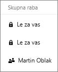 Posnetek zaslona stolpca »Skupna raba« v storitvi OneDrive za podjetja, ki prikazuje elemente, ki so v skupni rabi, in elemente, ki niso