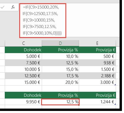 Formula v celici D9 je IF(C9>15000,20%,IF(C9>12500,17.5%,IF(C9>10000,15%,IF(C9>7500,12.5%,IF(C9>5000,10%,0)))))