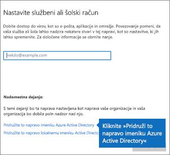 Kliknite »Pridruži to napravo imeniku Azure Active Directory«