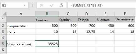 Primer matrične formule, ki izračuna en rezultat