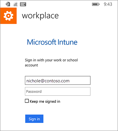 Sign in Microsoft workplace on Windows Phone