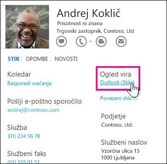 Povezava »Ogled vira« v Outlookovi kartici stika