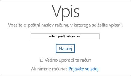 Posnetek zaslona strani za vpis v OneDrive.