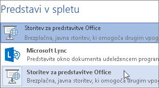 Predstavitev v spletu s storitvijo za predstavitve Office