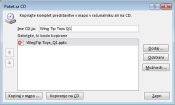 Ustvarjanje paketa s predstavitvijo za CD