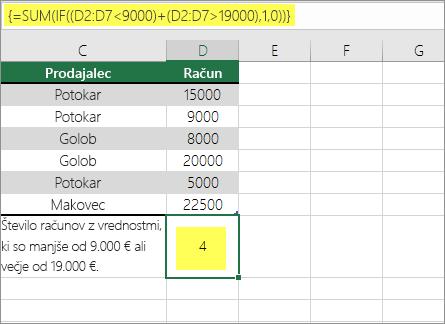Primer 2: SUM in če je ugnezden v formuli