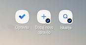 Posnetek zaslona, ki prikazuje bližnjice na začetnem zaslonu za Android za aplikacijo zadolžitev, dodajanje novega opravila in iskanje