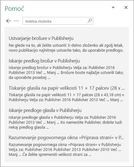 Posnetek zaslona podokna s pomočjo za Publisher 2016, v katerem so prikazani rezultati iskanja za tripregibno.