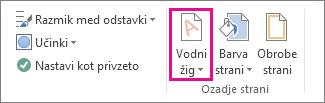 Ukaz »vodni žig« v programu Word 2013. Na zavihku »Načrt« kliknite »Vodni žig«.