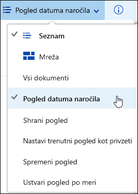 Shrani pogled knjižnice dokumentov po meri v storitvi Office 365