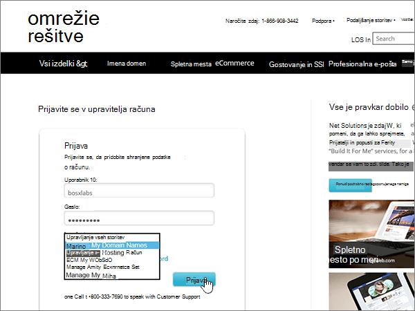 Izberite »Upravljanje mojih imen domen« in se prijavite v Network Solutions