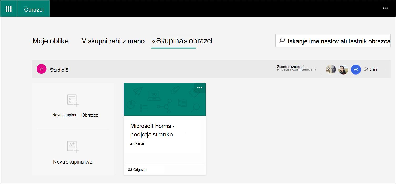Zavihek» obrazci «za skupino Microsoft Forms