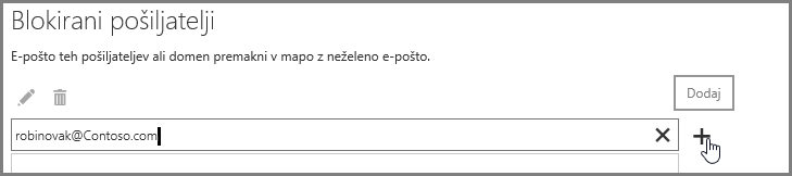 Blokiranje pošiljatelja v programu Outlook Web App