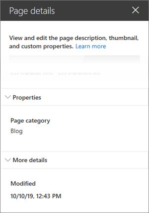 Podokno s podrobnostmi strani s kategorijo strani spletnega dnevnika