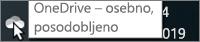 Posnetek zaslona prikazuje kazalec na beli ikoni storitve OneDrive z besedilom OneDrive – osebno.