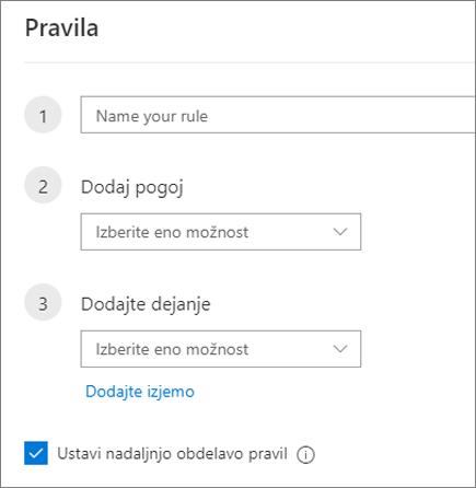 Ustvarjanje novega pravila v Outlooku v spletu