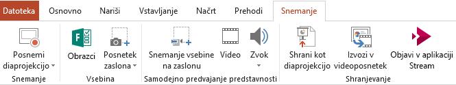 Prikazuje zavihek »Snemanje« na traku v programu PowerPoint 2016.