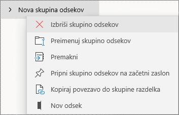 Brisanje skupin odsekov v aplikaciji OneNote za Windows 10