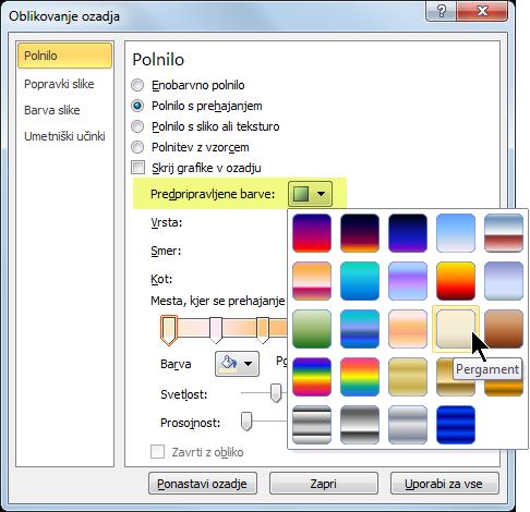 Če želite uporabiti prednastavljeni preliv, izberite »Prednastavljene barve« in izberite možnost.