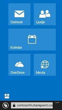 Uporaba ploščic za krmarjenje v storitvi Office 365 za dostop do mest, knjižnic in e-pošte