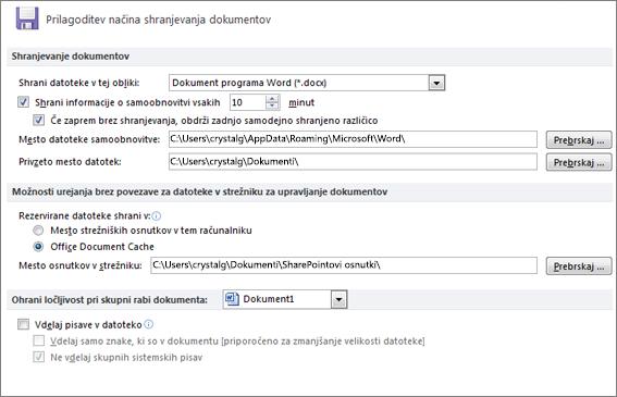 Možnosti za shranjevanje v aplikaciji Word 2010