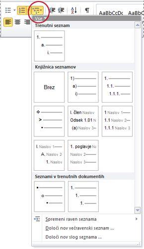 Večravninski slogi seznamov v Wordu 2010