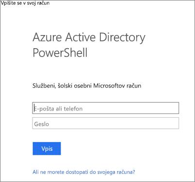 Vnesite svoje skrbniške poverilnice za Azure Active Directory