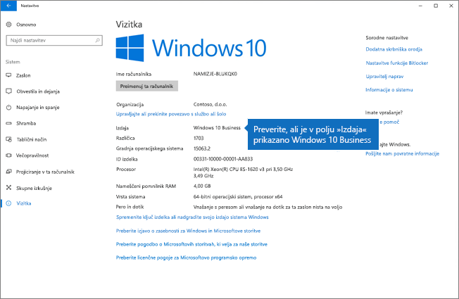 Preverite, ali je izdaja sistema Windows izdaja Windows 10 Business.
