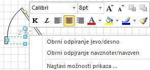 Če želite več ukazov, z desno miškino tipko kliknite obliko